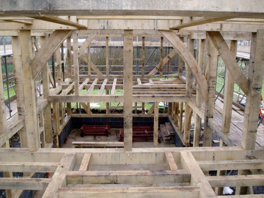 Traditional oak spine beam and joists