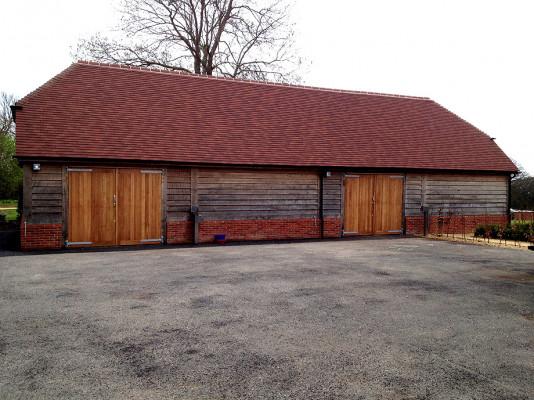 Halnaker Park Full Green Oak Frame Garage with Oak Garage Doors