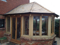 Half Octagon Oak Frame on Plinth Wall