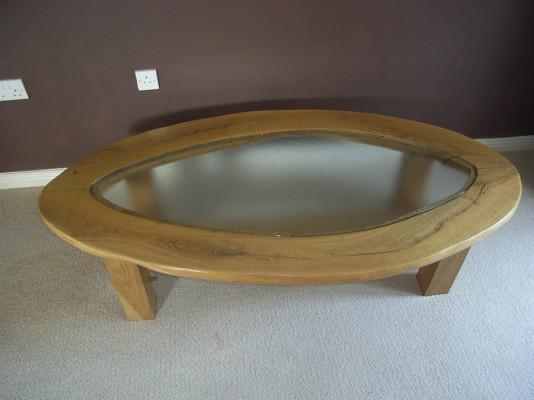 Handmade Glass Top Oak Coffee Table