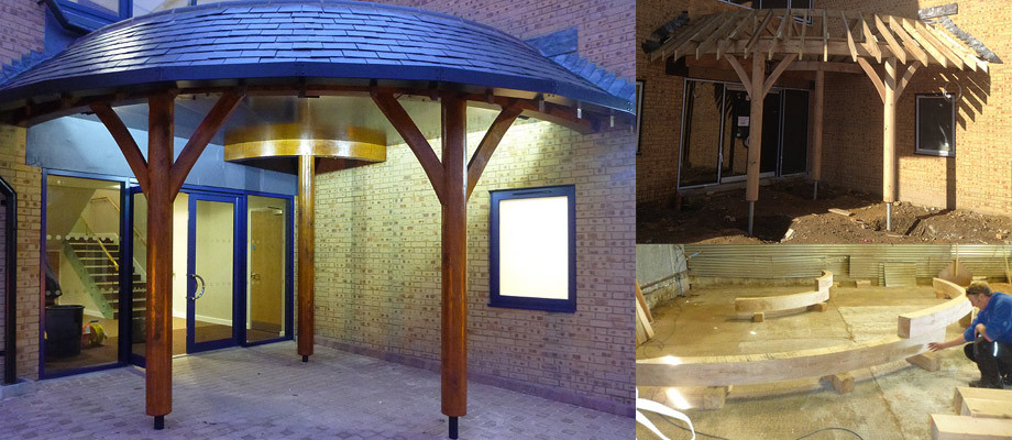 Curved Green Oak Framed Canopy
